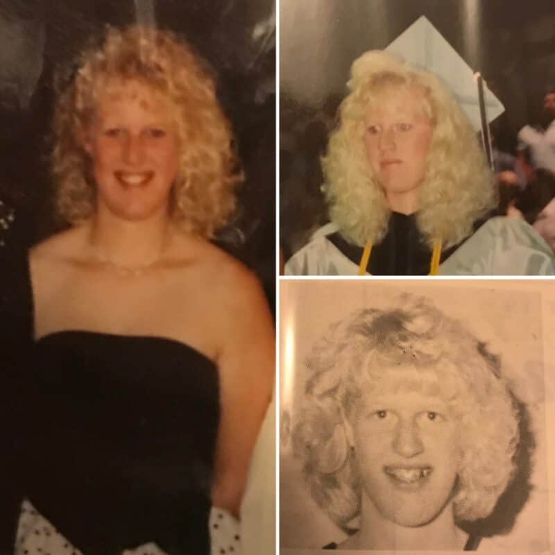 3 photos of the author at her graduation, a tall, white woman with curly blonde hair smiling